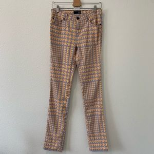 David Kahn long skinny geometric colored pants
